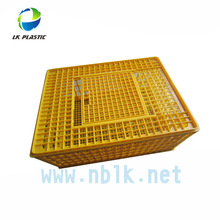 Plastic poultry transport crate with push-pull door