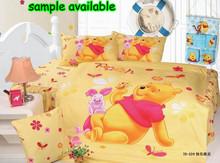 good quality 100% cotton carton bed sheet Children Kids bedding set,happy winnie