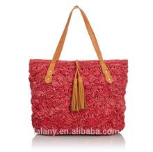 Lelany handmade fashion crochet bag tote straw bag for woman