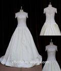 Off shoulder short sleeves beijing skirt and blouse wedding dress in cream color