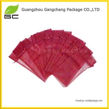 wholesale fashionable cute red drawstring organza gift bag