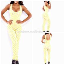 2014 Hot selling wholesale fashionable ladies Bandage white with yellow jumpsuits