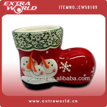 Christmas ceramic snowman boot vase,planter
