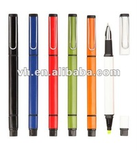 2012 news design 2 in 1 ball pen with highlighter for promotion