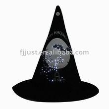 Blinking black halloween felt hats with led lights