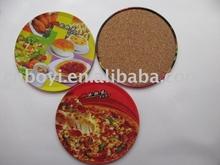 Tinplate cup pad/tin cork coaster/promotional tinplate coaster