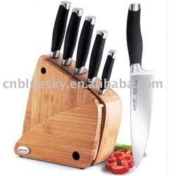 SKY-KT1018 7 PCE Kitchen Knife Block & Chopping Board
