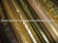 Tecido ouro, prata e rolo de organza