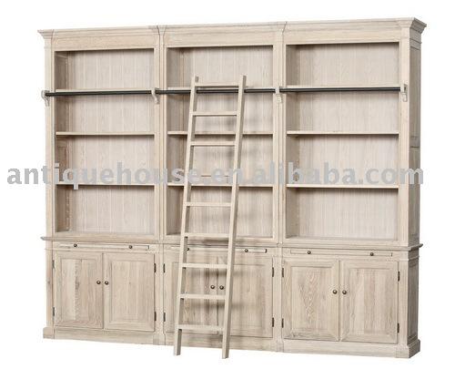 Biblioth que en bois avec chelle meubles en bois id du - Meuble bibliotheque avec echelle ...
