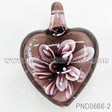Heart murano lampowork glass pendant