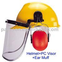 Safety Helmet + Earmuff + PC Visor