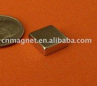 3/8 in x 3/8 in x 1/8 in Thick, Grade N42, Ni-Cu-Ni Plated Neodymium Block Magnet