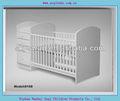 De color blanco de madera de pino del bebé cuna con gabinetes(8108)