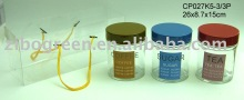 CP027K5-3/3P 3pcs glass canister set with printing with metal lid