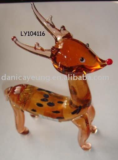 amber color glass deer