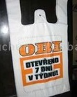 HDPE white color printed blocked t-shirt bag with cheap price