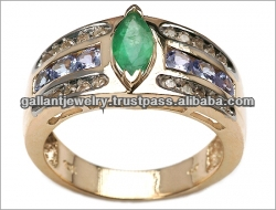 10K 1.50ctw Genuine Emerald, Tanzanite & Diamond Ring