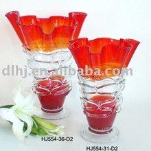 Murano Glass Vases in Red