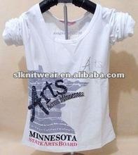 ladies fashional long sleeve beaded cotton t shirt