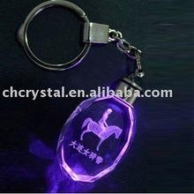 horse engraved crystal key chain, led light keyring chain