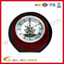 table clock skeleton clock in round shape desk clock wooden with vintage design for promotion gift 2013
