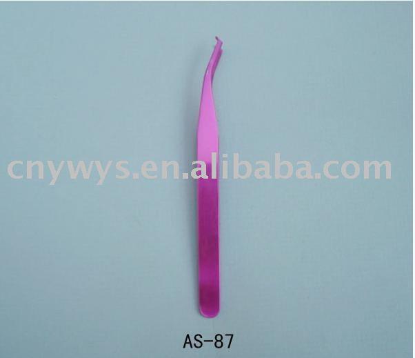 pink color pointed eyebrow tweezer