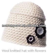 Acrylic crochet beanie with flower