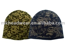men machine knitted hat with full printing