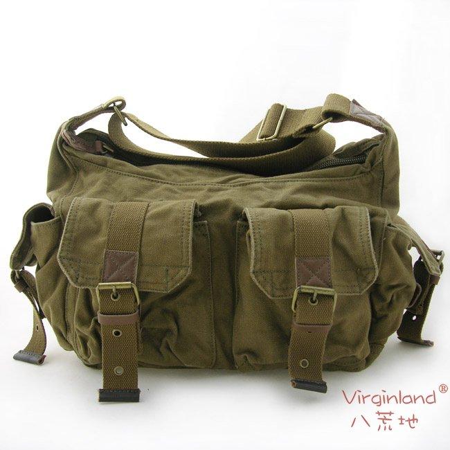 Cotton Canvas Messenger Shoulder Bag 66