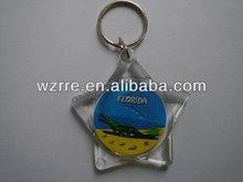 custom made 3D star shape plastic keychain/keyring for promotional use