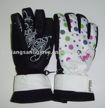 fashion winter ski waterproof gloves with leather