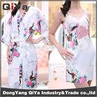 Japan Lady's Peacock Short Silk Kimono robes Sleeperwear NightGowns for wedding