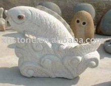 White stone fish carving,animal carving wholesale
