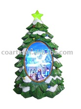 """13"""" polyresin christmas tree with white beautiful house ,snowman & kids in side and with LED & fiber optic lighting and music"""