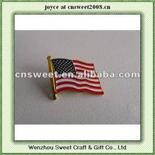 flag metal emblem for flag shape butterfly buckle back