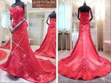 Top quality elegant long train red wedding dress,bridal dress RB050