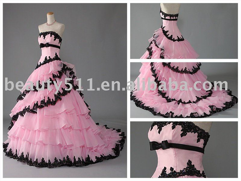 Layered pink black lace trailing wedding dress bridal gown for Black and pink wedding dress