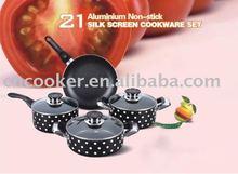7pcs aluminium silk screen cookware set