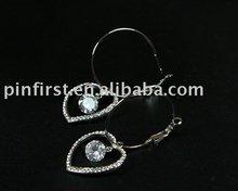 New Alloy Earrings Rhinestone Heart Clear