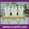 ceramic cruet set with wood tray