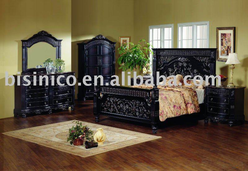 Classique en bois massif de chambre coucher avec la main - Set de chambre bois massif ...