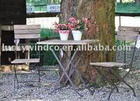 garden metal table with wood top