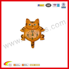 Handmade Genuine Leather Clock Brown Wall Clock In Cat Design For Collection/Gift