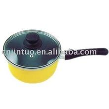 aluminium non-stick milk pot with glass lid