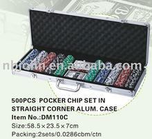 500 Pc Poker Chip Set in Silver Aluminium Case, Rectangle Corner