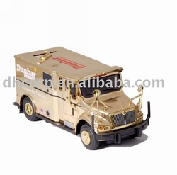 dunbar armored Saving Bank truck model with plated gold
