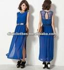 lady chiffon dress with lace on back