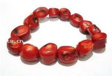 Natural Red Coral Bracelet, nuggets beads, red color, elastic, Sold per 7.5-Inch Strand