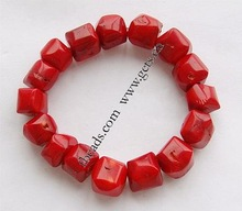 Natural Red Coral Bracelet, Nuggets, red color, elastic, economy style, 16x12mm, Sold per 8-Inch Strand