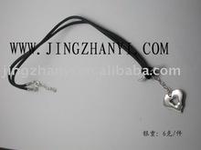6 g heart shape pendant necklace, lover's necklace, black string necklace